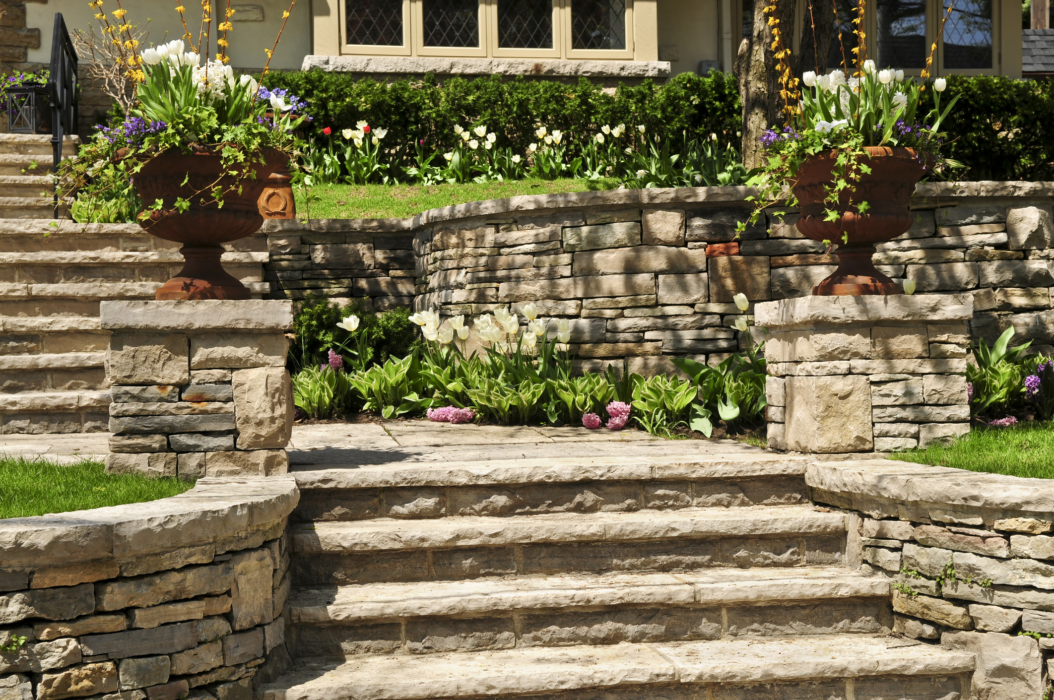 Stone Retaining Wall and Stairs